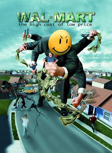 "DVD cover for Robert Greenwald's documentary ""Walmart, the High Cost of Low Price""."