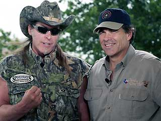 Quien es más scumbag? A difficult question given the contenders. Flamboyant rocker and bowhunter Ted Nugent and Perry—we'd like to think it can't get worse than that, but in this country it probably does.