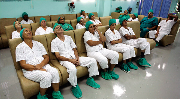 Patients at the Ramón Pando Ferrer eye hospital in Havana.