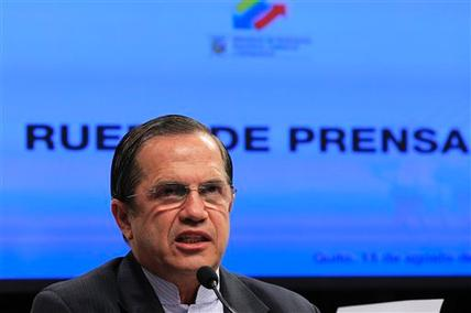 "Ecuador's Foreign Minister Ricardo Patino speaks during a press conference in Quito, Ecuador, Wednesday, Aug. 15, 2012. Patino told that Ecuador received a written threat Wednesday from Britain that ""it could assault our embassy"" if WikiLeaks founder Julian Assange was not handed over."