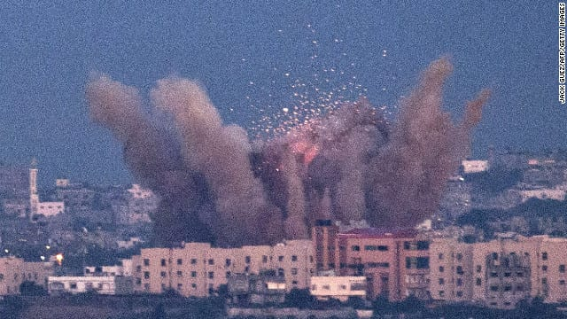 Israel airstrike on Gaza. Hamas' retaliatory shelling is just a pretext.  The real object is causing the Palestinians to self-deport. Ethnic cleansing.