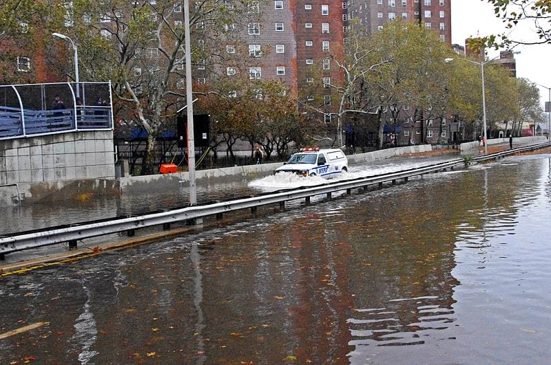 The famous FDR drive in New York City was flooded as a result of Sandy's surge.