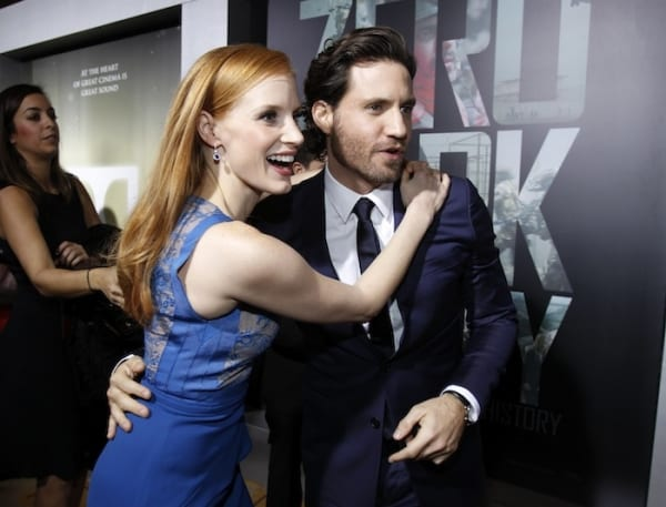 ZDT-cast-members-jessica-chastain-and-edgar-ramirez-greet-each-other-at-the-premiere-of-zero-dark-thirty-at-the-dolby-theatre-in-hollywood-california-december-10-2012