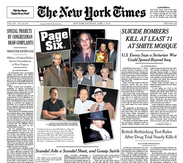 NYTimesPage Six, Above The Fold