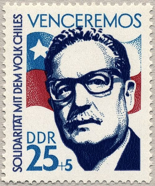 Commemorative stamp honoring President Allende, by the much maligned German Democratic Republic.
