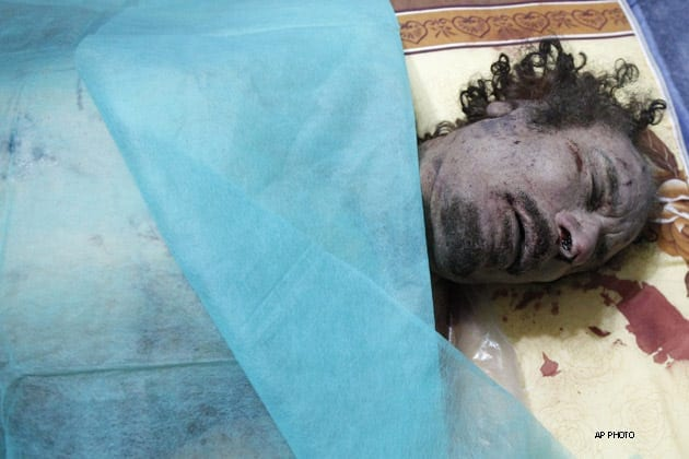 Gaddafi's brutal murder at the hands of fanatical hyenas unleashed on him by the Western alliance was a cynical and cold-blooded war crime. Hillary memorably joked about his killing.