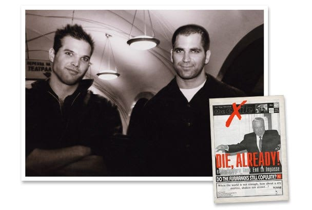 Matt Taibbi and Mark Ames, co-editors of The Exile, a subversive English-language newspaper based in Moscow, whose decadelong run came to an abrupt end in 2008. Inset: A Boris Yeltsin cover accompanied by a typical Exile headline. By Martin von den Driesch (Taibbi and Ames).