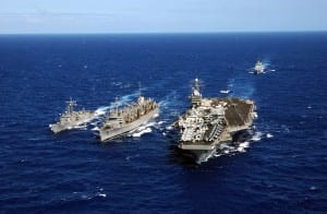 USS Carl Vinson Battle Group, being replenished at sea.