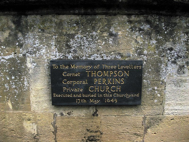 Plaque commemorating three Levellers shot by Cromwell, who represented the bourgeois middle class component of the English Civil War and feared radicals.