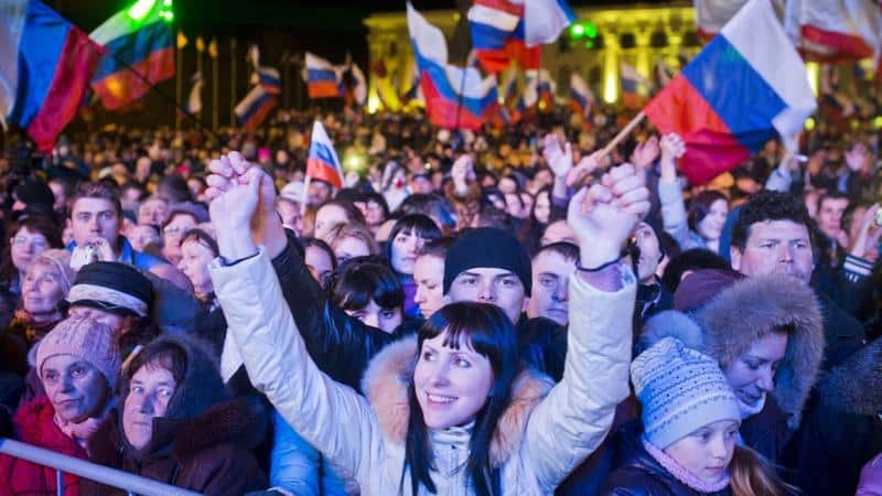 Crimeans celebrate results of referendum, voting to rejoin Russia.