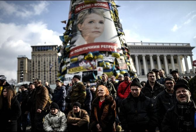 Ukrainians rally round an image of Yulia Tymoshenko, a rightwing politician and crooked oligarch until recently incarcerated for crimes against the people.