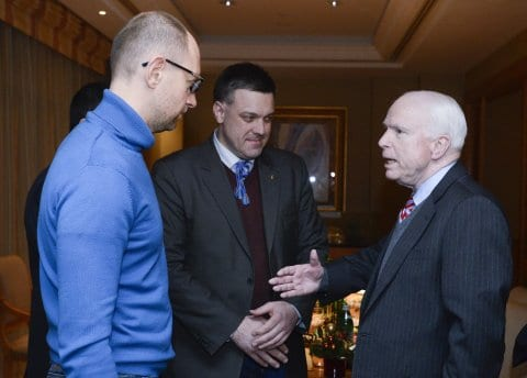 "The ubiquitous warmonger John McCain giving ""moral support"" to the Ukraine rebels. Don;t ask him to support Occupy Wall Street."