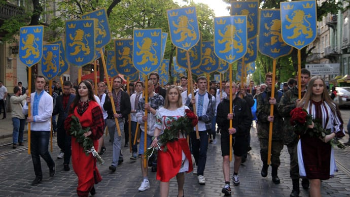 Rightwing Ukrainians march commemorating alliances with the Nazis.