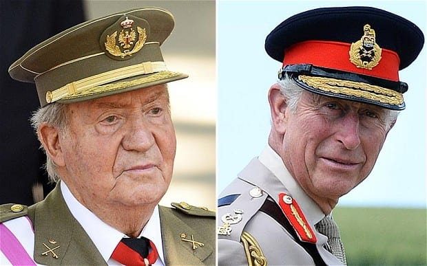 Juan Carlos and Charles. The latter would like to see his mother follow the Spanish king's example.