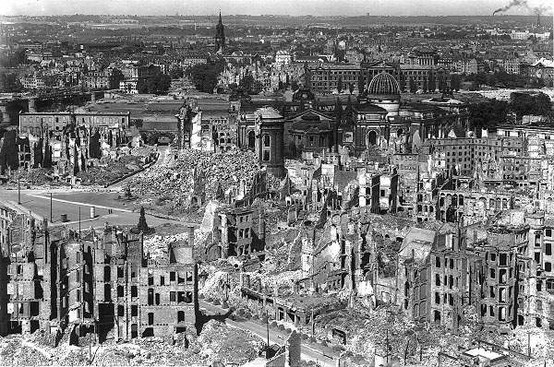 "The wages of Nazism: Dresden utterly destroyed in an allied ""terror bombing."""