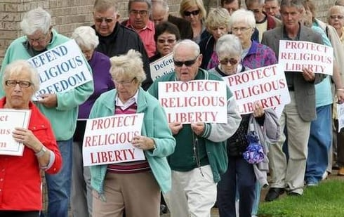 Rightwingers and religious people like these pathetic seniors inhabit a fear universe crammed with lies. The utterly ridiculous idea that religious freedom is in danger in America is one such lie they buy.