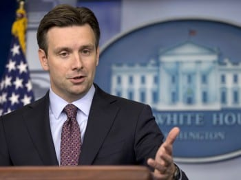"White House Deputy ""Press Se cretary"" Josh Earnest: Like his predecessors, charged with lying for his boss."