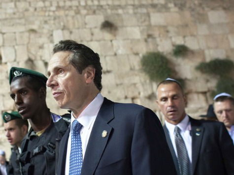 Cuomo in Israel: assiduously comforting the powerful.