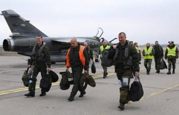 French pilots stationed in the Baltics, as part of NATO's air shield mission.