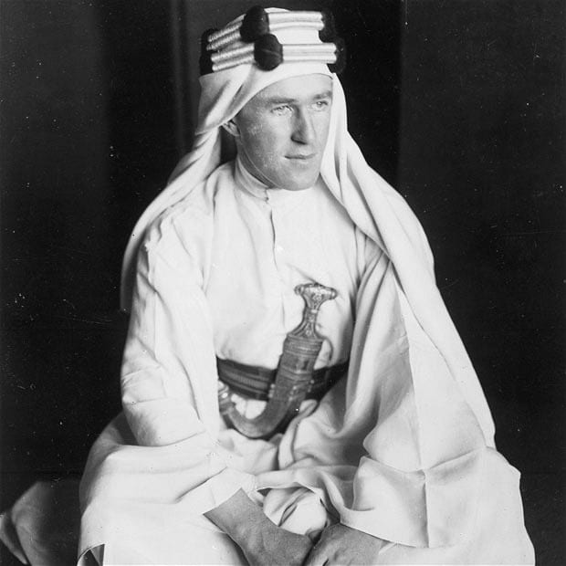 Lawrence in Arab garb.