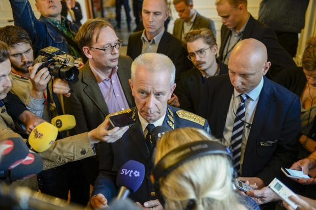 "The head of the Swedish armed forces mobbed by reporters as he waxes self-righteous about the ""inviolability of Sweden's borders"" over an incident that never existed."