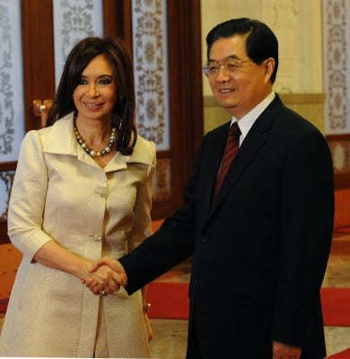 Cristina Kirschner, Argentina's president greets China's head of state, Hu Jintao. Latin American leaders for the most part have no problem working closely with China.