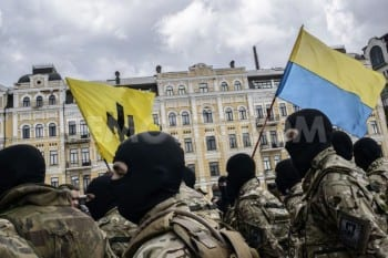 Kiev has mobilized its own fascist militias and mercenaries, many paid by the US and the native oligarchs. Here members of the notorious Azov Battalion.