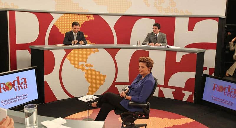 Brazil's Dilma Roussef answering question on national television.