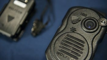 A combination body camera radio microphone from Wolfcam is seen during a press conference at City Hall September 24, 2014 in Washington, DC. The Washington, DC Metropolitan Police Department is embarking on a six- month pilot program where 250 body cameras will be used by officers. AFP PHOTO/Brendan SMIALOWSKI        (Photo credit should read BRENDAN SMIALOWSKI/AFP/Getty Images)
