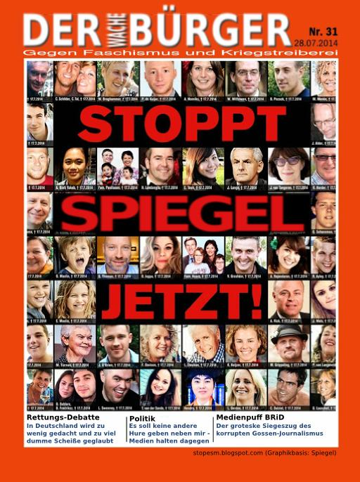 Poster mocking Der Spiegel's anti-Putin cover, circulated by German activists.