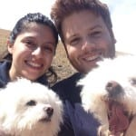 The author with the woman who shares his life and two of his furry children.