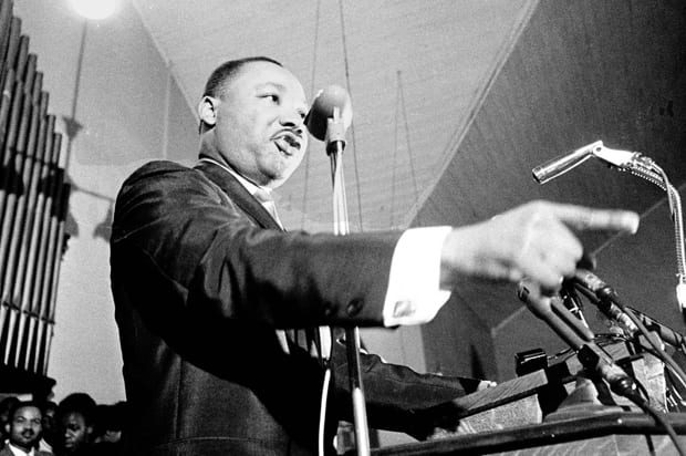 "Martin Luther King Jr., speaks at a Selma, Ala., church in this January 1965 photo. A never-before-published speech given by King in Selma during a 1965 visit is included in ""Ripples of Hope,""  a collection of 110 speeches from the 1780s to the 1990s, on topics from women's suffrage to gay rights. (AP Photo)"