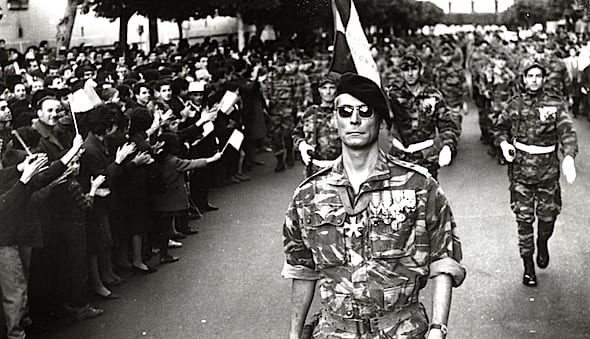 """The French """"paras"""" arrive to settle the insurrection in Algiers, by any means necessary.  (Still from The Battle of Algiers, 1966, by Gillo Pontecorvo.)"""