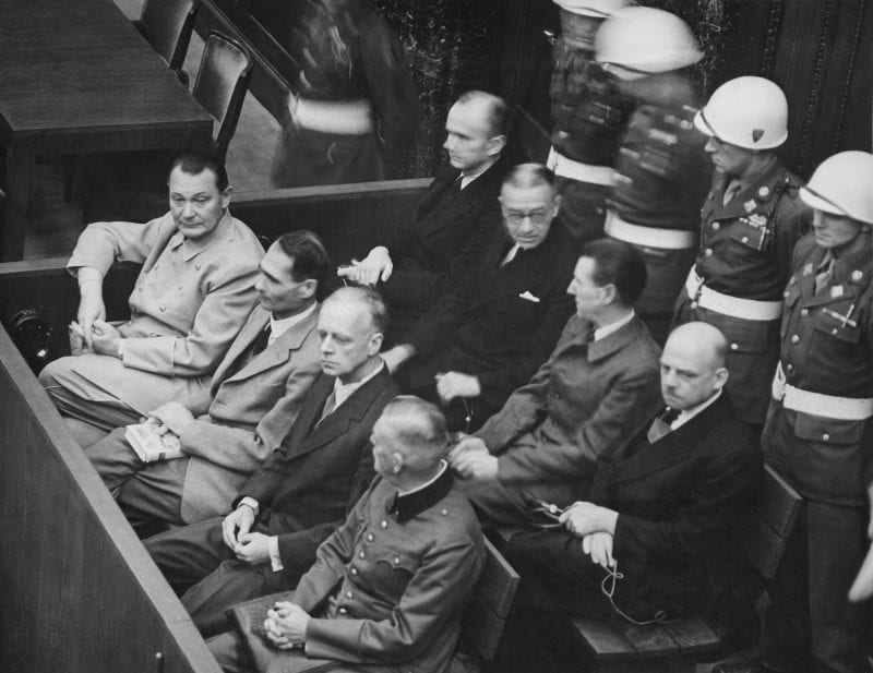 Nuremberg Trials. Defendants in the dock. The main target of the prosecution was Hermann Göring (at the left edge on the first row of benches), considered to be the most important surviving official in the Third Reich after Hitler's death. (US Gov./CC)