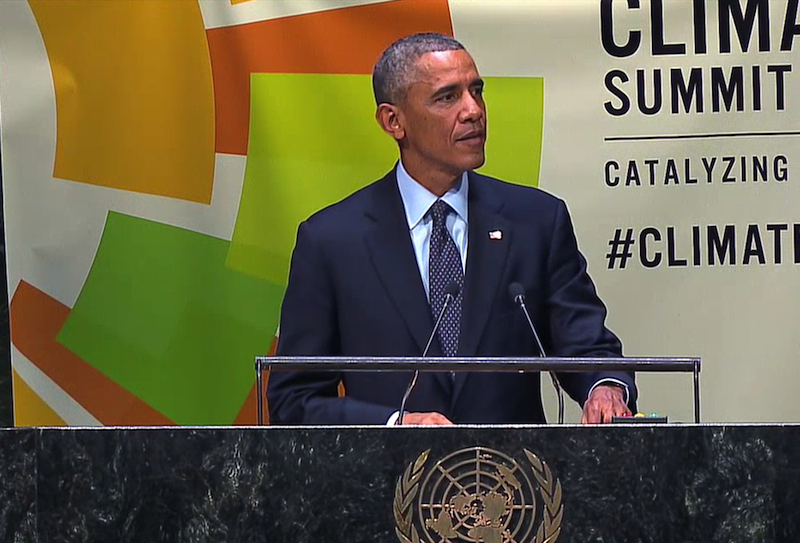 Obama speechifying at the 2014 Climate Summit. Empty rhetoric lacking in substantive policy.