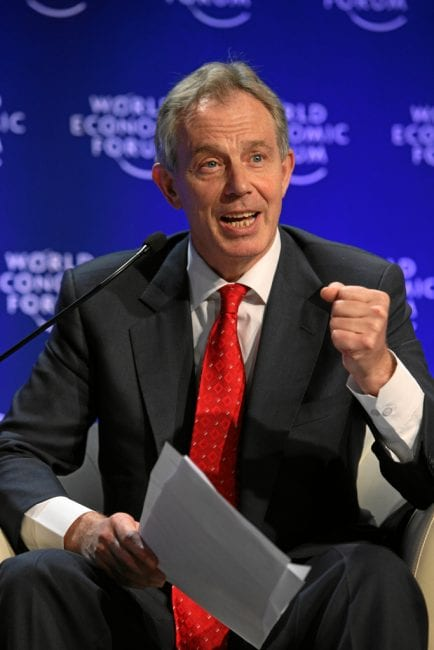Blair holding forth at the Wold Economic Forum, an assembly of billionaires an their shills. WEF.via-flickr