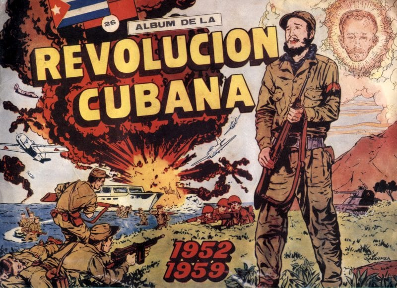 "The cover of an album that tells the story of the Cuban Revolution in 268 trading cards that were given away with tinned fruit in the early sixties. Up in the clouds you can see Jose Marti looking down on the unfolding drama. As well as being a Cuban hero, poet and revolutionary, Marti also penned the lyrics to that latino chart topper ""Guantanamera""..."