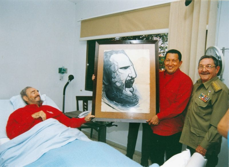 Fidel visited by Pres. Chavez and Raul Castro in 2006, during a serious health crisis. (Via Robin, flickr)