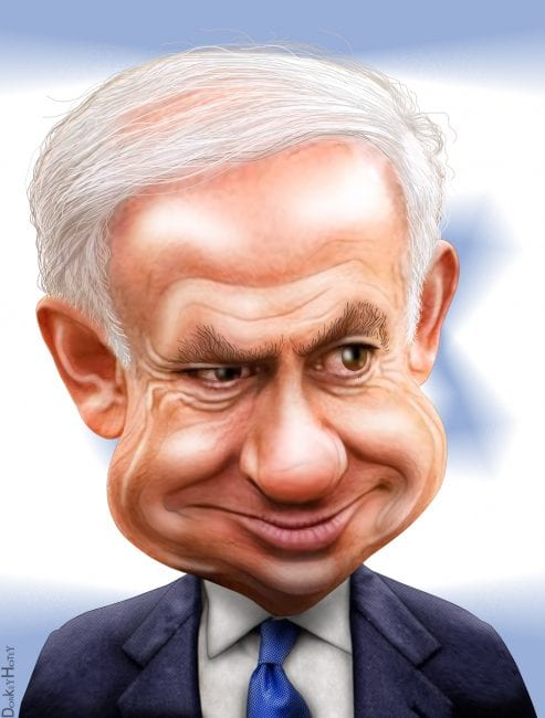 The blustery Netanyahu: an embarrassment to his formal allies. (Via DonkeyHotey.flickr)