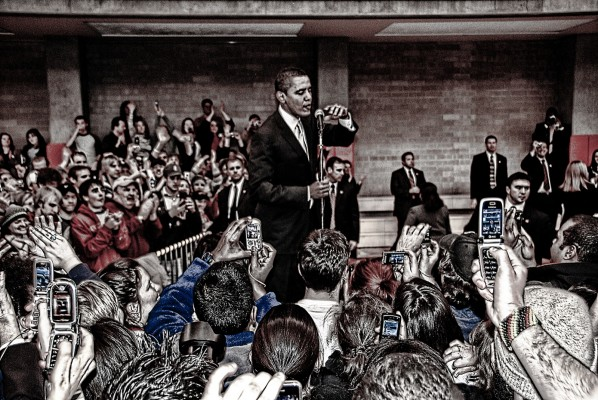 Obama, the new-fangled tribune of the people, Barack Obama greets the overflow crowd in Denver, Colorado Jan. 30, 2008.  (Chris Coleman, via flickr)