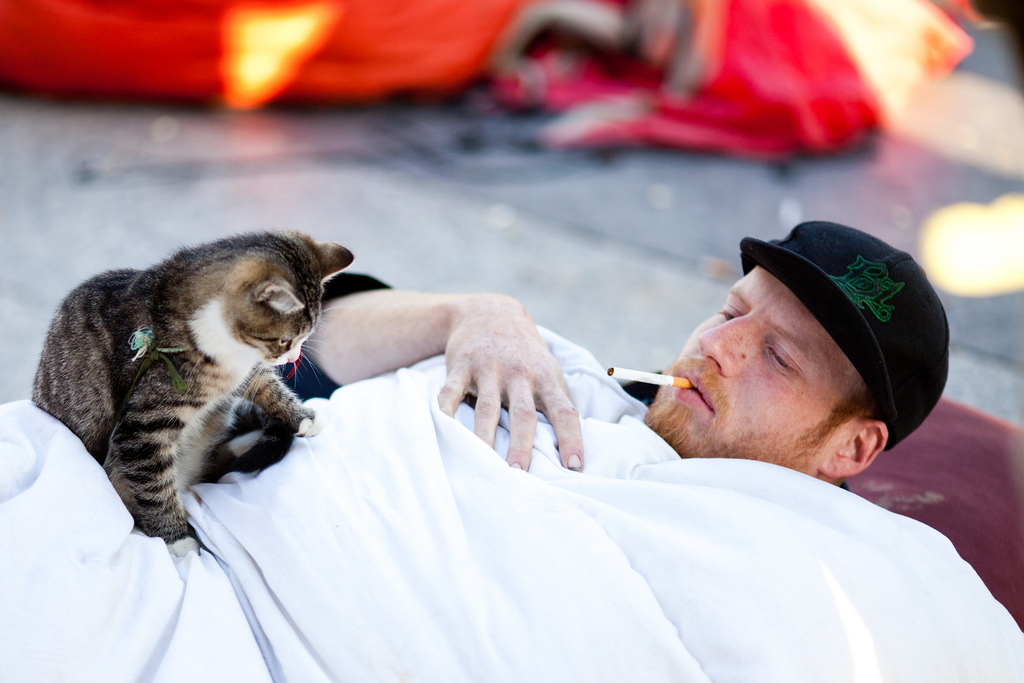 A protester lays on the ground smoking with his cat outside the former Occupy SF encampment. (Via Thomas Hawk, flickr)