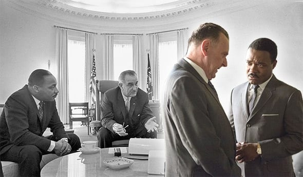 Recreating history—truth (l) and simulation (r). How close did the two come in Selma? (Photomontage for Slate Magazine)