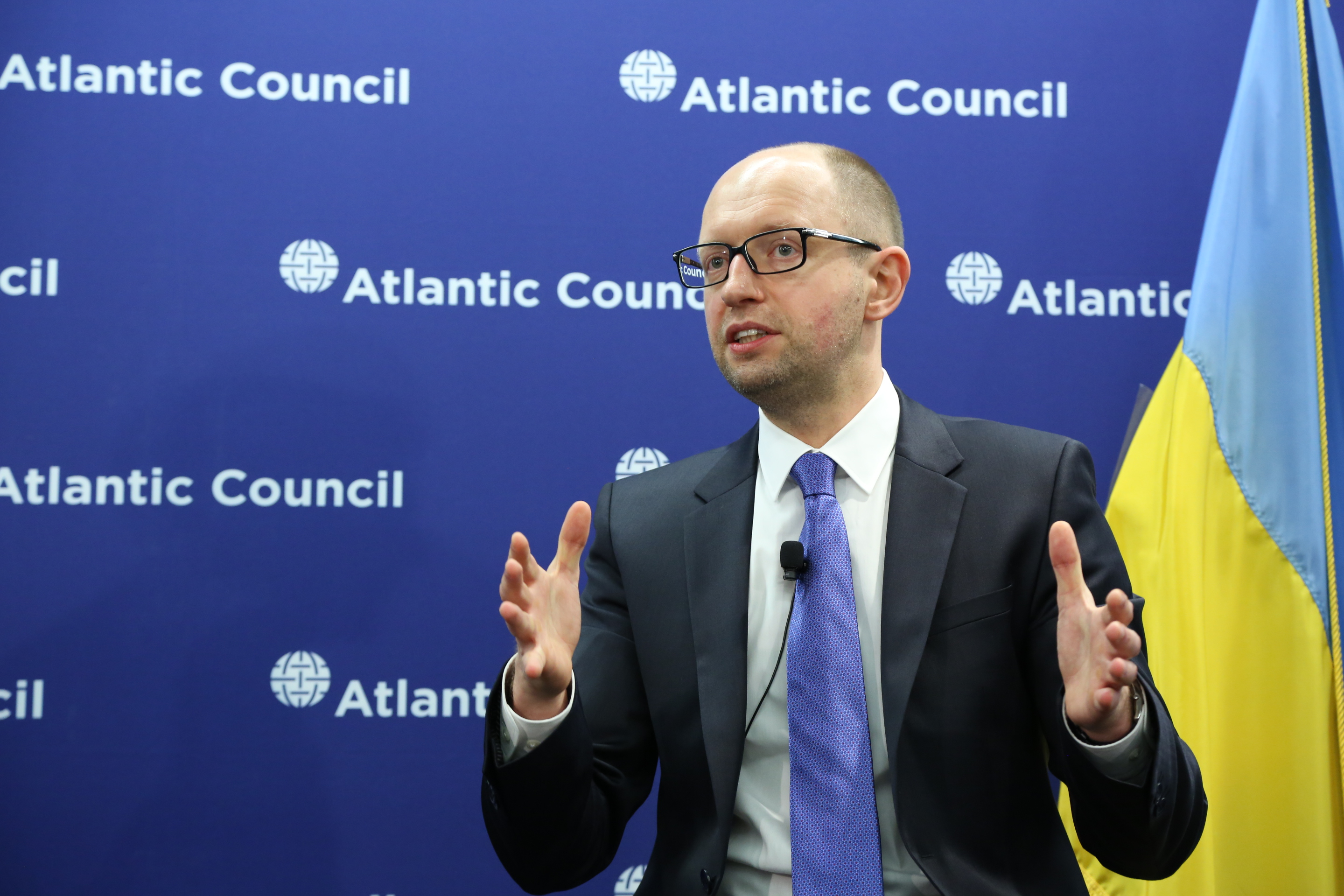 """Prime Minister"" Yatsenyuk holding forth before the Atlantic Council. (Atlantic Council, via flickr)"