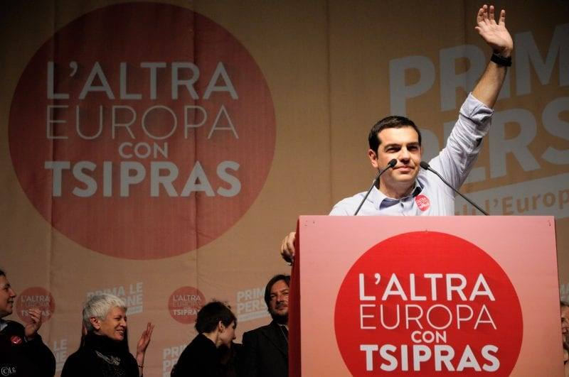 "Tsipras has awakened hope on the left. ""The Other Europe with Tsipras"" reads the legend. (Via Lorenzo Gaudenzi, flickr)"