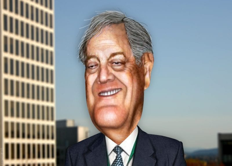 David Koch, half of the duo of sordid billionaires that stand out for their naked attempts at manipulating politicians. (DonkeyHotey, flickr)
