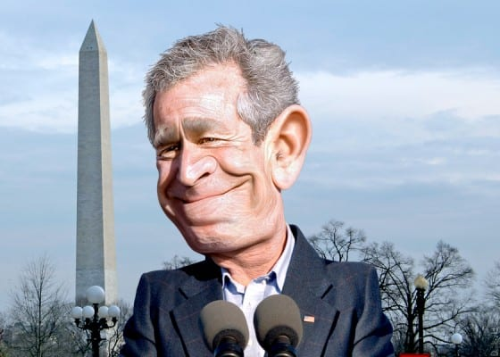 George W Bush: The cavalier idiot that proves Mayr correct. (DonkeyHotey, via flickr)