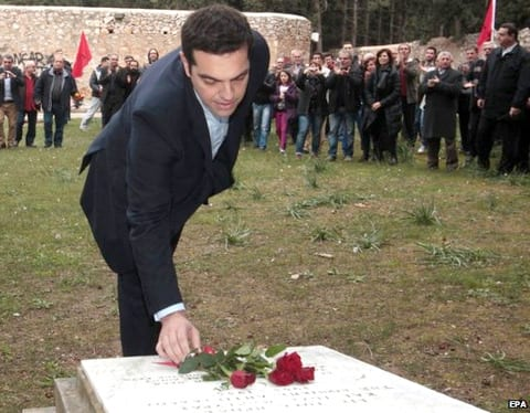 Alexis Tsipras's first act after being sworn in was to lay flowers on the National Resistance Memorial in Kaisariani, to honor the resistance fighters and as a symbol of liberty from German occupation.