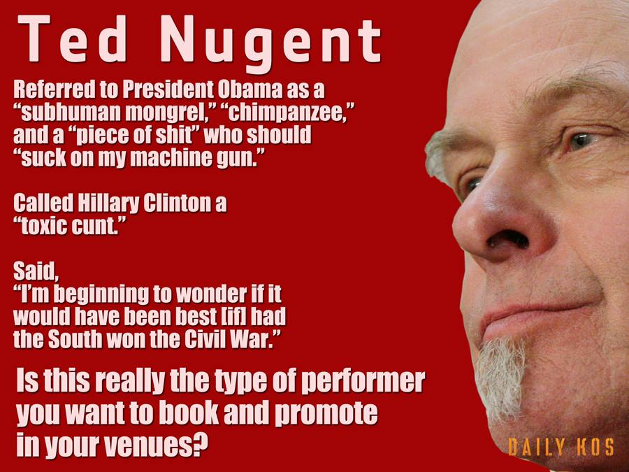 Image result for ted nugent cunt hillary