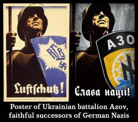 Azov's Nazi emblems. On the left, the original image used by the Hitlerite Nazis.