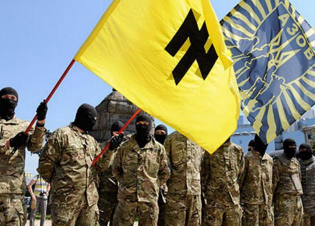 Members of the Azov Battalion, openly and unapologetically Nazi.